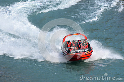 High speed jet boat ride - Queenstown NZ Editorial Photography