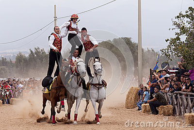 Sardinia.High Speed Pariglias  Editorial Stock Photo
