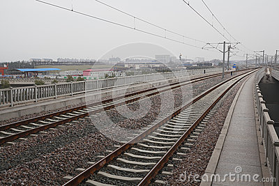 High-speed rail at railroad metal track with track