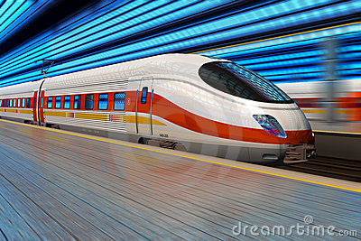 High speed train departs from railway station