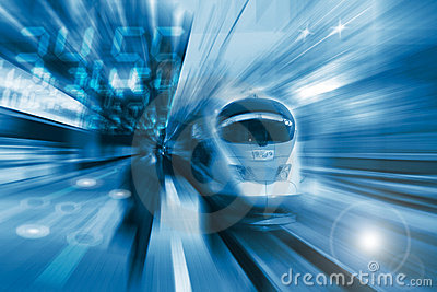 The high-speed train with motion blur
