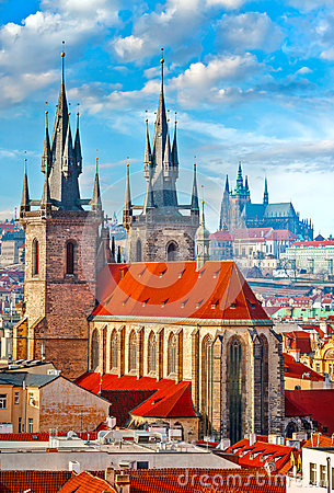 Free High Spires Towers Of Tyn Church In Prague City Royalty Free Stock Photography - 89307927