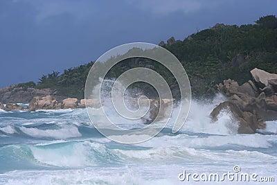 High surf on rocky coast