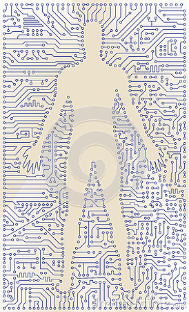 High tech circuit board man silhouette. Vector com