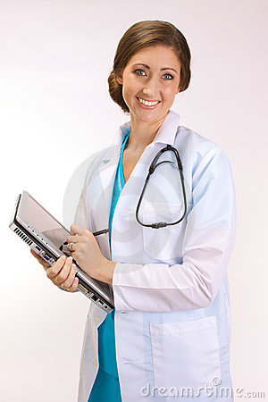 High Tech Doctor On A Tablet PC Royalty Free Stock Photo - Image: 11058695