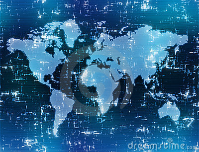 High tech map of the world