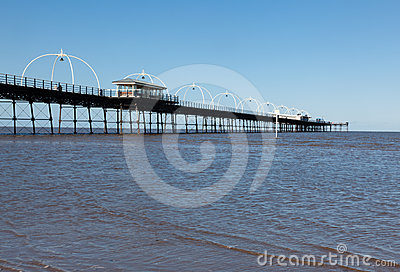 High tide at Southport pier in England