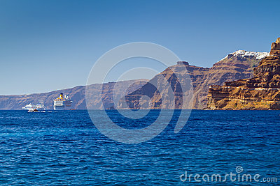 High volcanic cliff of Santorini island