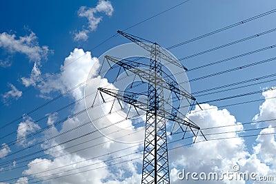 High-voltage line over sky