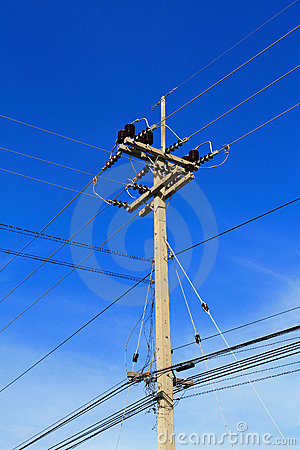 High voltage pole and lines