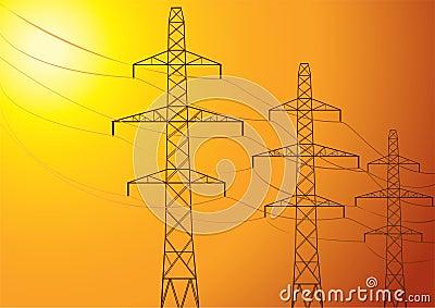 High-voltage poles.
