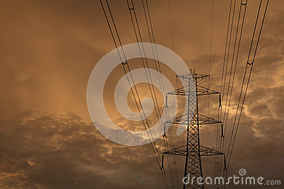 High voltage post sky background.