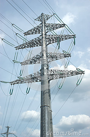 High-voltage power line metal prop over sky with c