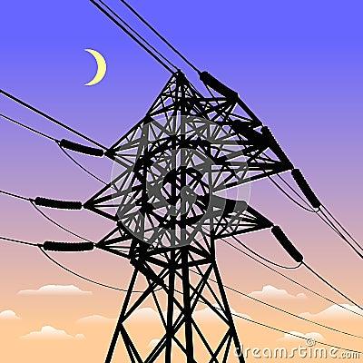 High voltage power line in sunset