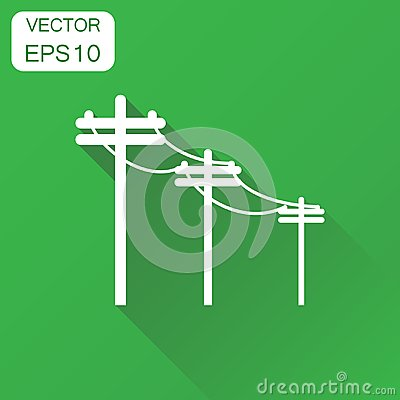 Free High Voltage Power Lines Icon. Business Concept Electric Pole   Stock Photos - 99368413
