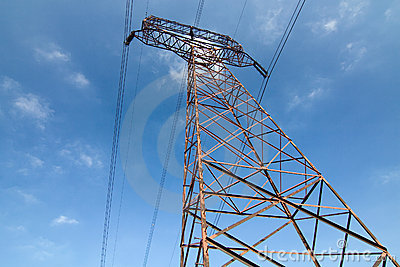 High voltage pylon and blue sky