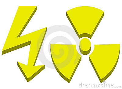 High voltage and radioactive sign