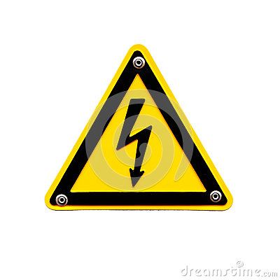 High voltage sing on white background