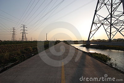 High-voltage tower with highway