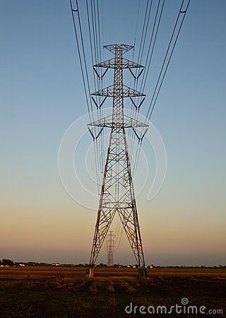 High-voltage tower on twilight