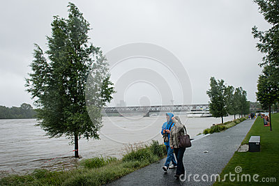 High water on the Danube river in Slovakia Editorial Photography