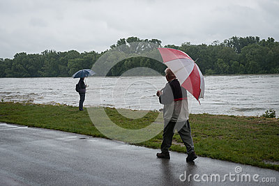 High water on the Danube river in Slovakia Editorial Photo
