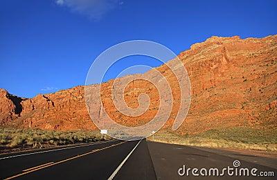 High way through desert