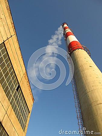 High white-red chimney