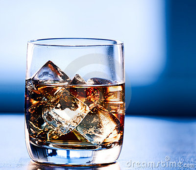 Highball whiskey glass at eye level