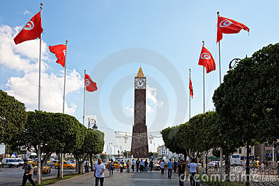 Higher security measures before elections, Tunis Editorial Stock Photo