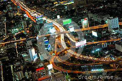 Highest Aerial view of Bangkok Highway Cityscape