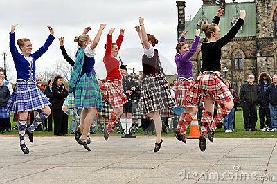Highland Dancers perform on Tartan Day Editorial Photo