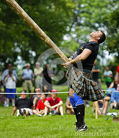 Highland Games Caber Toss Editorial Stock Photo