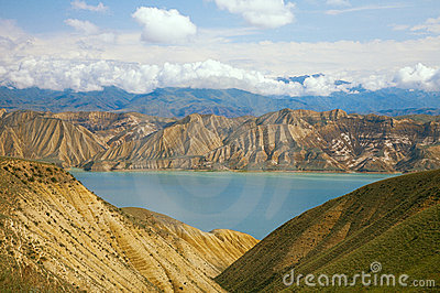 Highland mountain lake in Kyrgyzstan