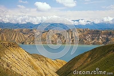 Highland mountain lake in Kyrgyzstan