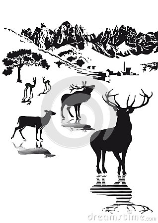 Highlands wildlife illustration