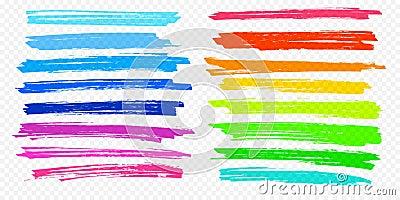 Highlight brush stroke set vector color marker pen lines underline transparent background Vector Illustration