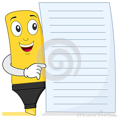 Highlighter or Highlighting Pen with Paper