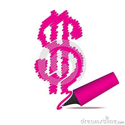 Highlighter pen drawing a dollar symbol