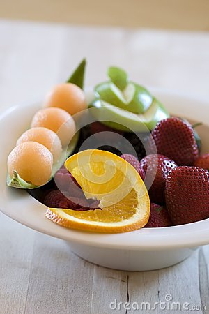 Highly decorated bowl of fruit