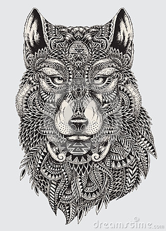 Free Highly Detailed Abstract Wolf Illustration Royalty Free Stock Photos - 45324368