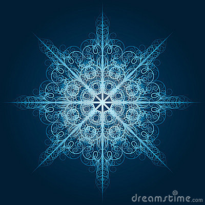 Highly detailed blue snowflake