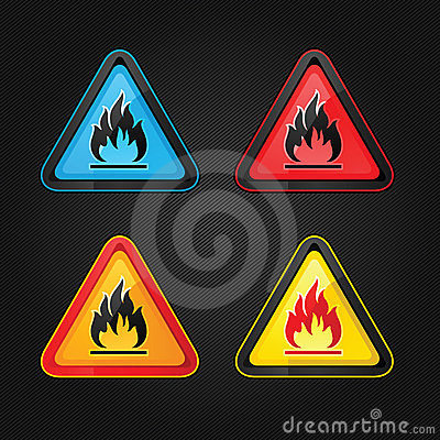 Highly flammable warning symbols