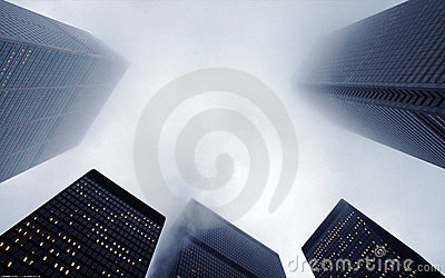 Highrise buildings in fog