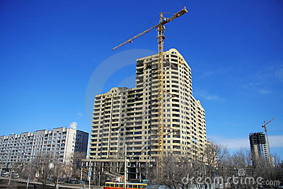 Highrise Construction Site on clear blue sky