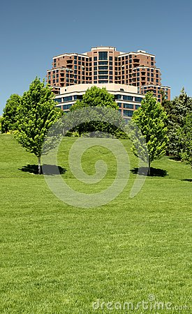 Highrise and Green Space in Industrial Park