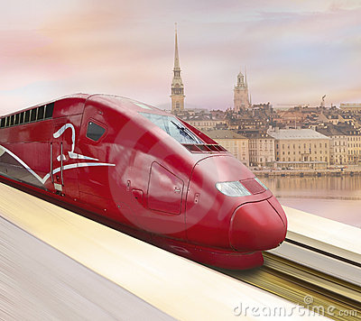 Free Highspeed Red Train Stock Photos - 17527333