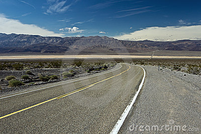 Highway across Panamint Valley in Death Valley