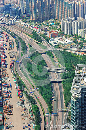 Highway aerial view