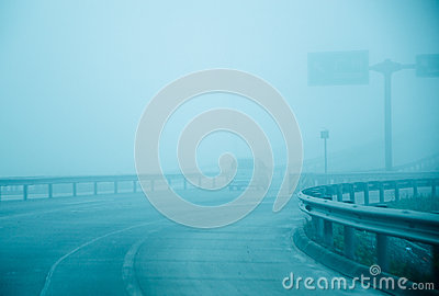 Highway be the fog haze covered